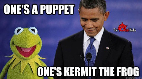 a puppet and kermit the frog
