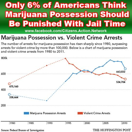 should marijuana be punished with jail time not according to the vast majority