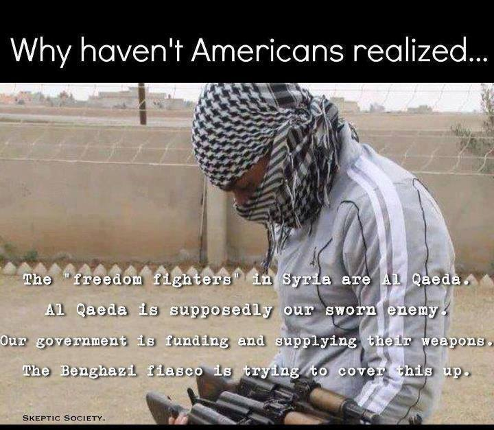 al queda in syria our sworn enemy that we are funding and have spent trillions fighting
