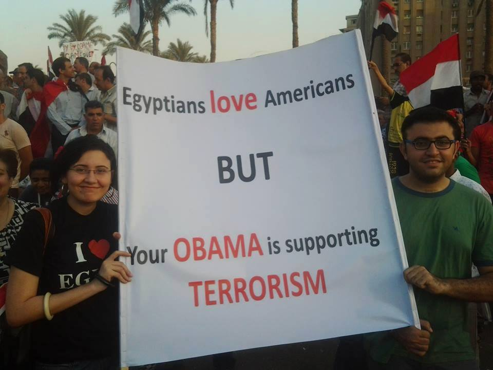 egyptians love americans but your obama is supporting terrorism
